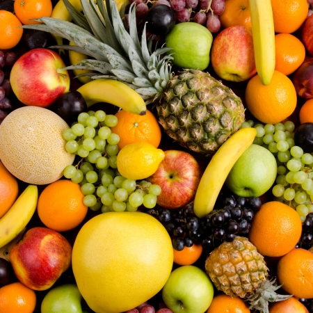 much: still life of big  heap multi-coloured fruits, square background