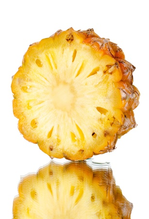 citrous: still life single  part pineapple close up, on white background, isolated