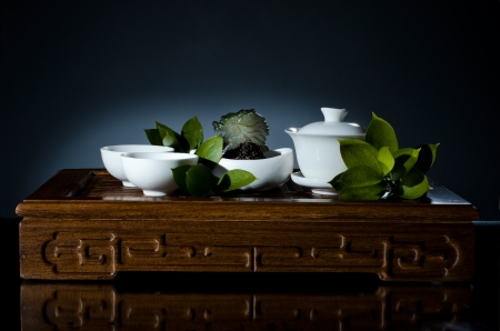 delftware: horizontal photo, still life of the china waret and   on dark blue  background
