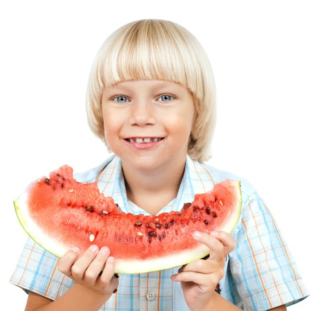 little boy hold watermelon, eating and smile, on white background, isolated Stock Photo - 15199822