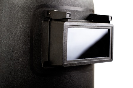 black protective screen closeup , for electric arc welding, on white background, isolated photo