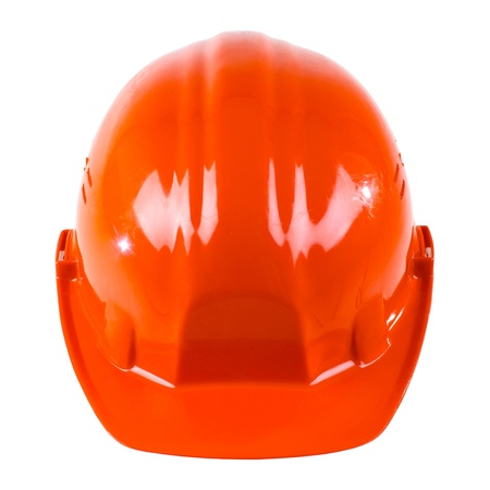 aegis:   beauty red  safety cap, close up on white background, from one side