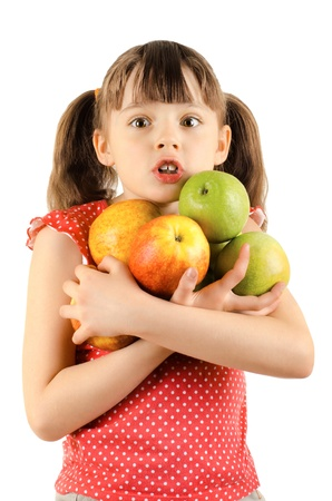 little girl surprised: beauty little girl, hold many apple and wonder look, on white background, isolated