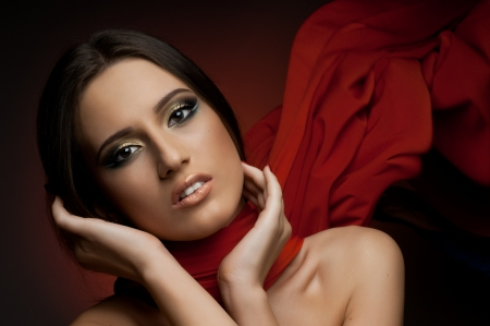 the very  pretty woman with red  neckerchief, sensual sexuality gaze photo