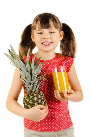 citrous: beauty little girl, hold pineapple and   juice, on white background, isolated Stock Photo