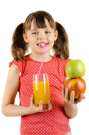 beauty little girl, hold pineapple and  drink  juice, on white background, isolated Stock Photo - 15201710