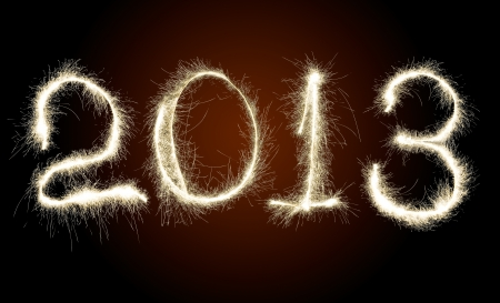 strikingly: Date New Year 2013 of photo sparkle Bengal light on dark red background, collage of figure