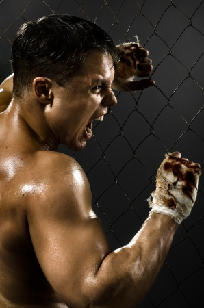 vertical photo  muscular young  guy street-fighter,  aggression awesome yell , hard light Stock Photo - 15497223