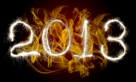 lambent: Date New Year 2013 of photo sparkle Bengal light on background with flame, collage of figure