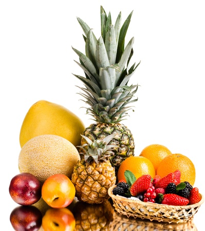 citrous: still life of big  heap multi-coloured fruits , on white background, isolated