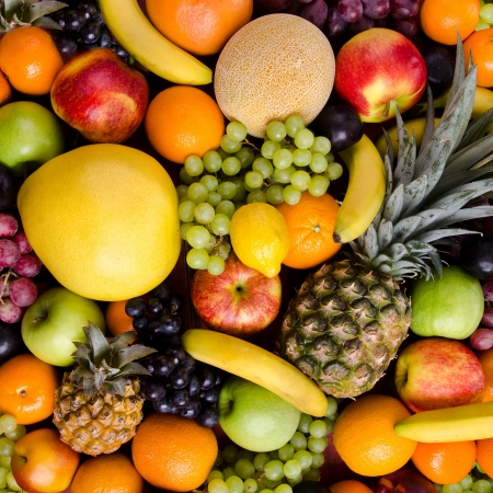 citrous: still life of big  heap multi-coloured fruits, square  background Stock Photo