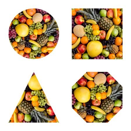 citrous: still life of big  heap multi-coloured fruits, geometrical  figure