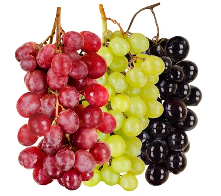 bacca: still life  black, green, red  bunch of grapes close up, on white background, isolated