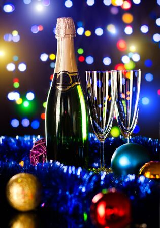 stemware: bottle  champagne with two glass goblet,  beautiful celebrations  New Year concept photo Stock Photo