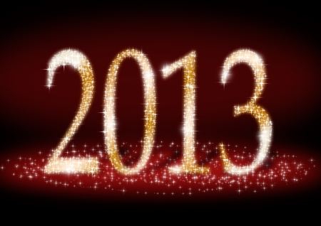 Date New Year 2013  of sparkle light on dark red background