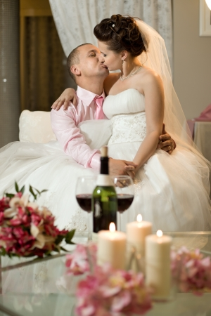 newly married couple in hotel room,  romance wedding dinner
