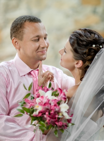 atilde: vertical portrait happy newly married couple , romance embrace outdoor Stock Photo