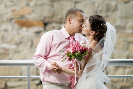 portrait happy newly married couple , romance embrace and kiss , outdoor Stock Photo - 15807071