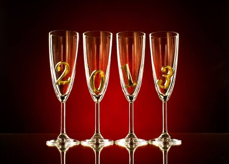 festively: four glass goblet for champagne with  numeral 2013,  beautiful celebrations  New Year concept photo