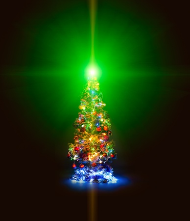 lambent: beautiful Christmas firtree with resplendent multicoloured garland on dark brown background