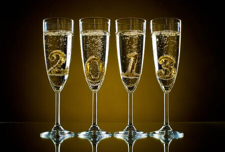 festal: four glass goblet with champagne and  numeral 2013,  beautiful celebrations  New Year concept photo Stock Photo