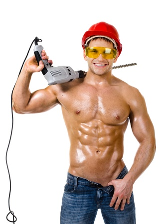 the beauty worker driller man,   wield with  perforator, on white background, isolated Stock Photo - 16085551