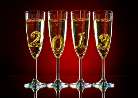 four glass goblet with champagne and  numeral 2013,  beautiful celebrations  New Year concept picture