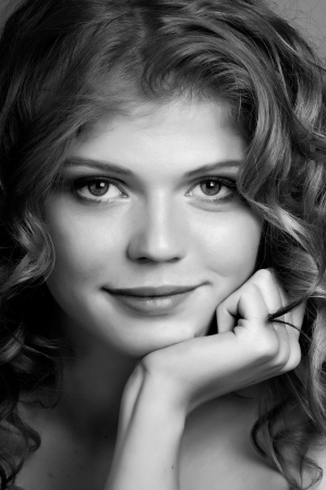 belle: the very  pretty red-haired young woman,  smile , vertical close up portrait,  black-and-white
