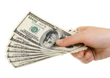 payola: cash  currency note dollar in hand, on white background, isolated