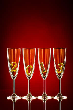 four glass goblet for champagne with  numeral 2013,  beautiful celebrations  New Year concept photo photo