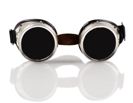 blak white: photo blak  welded protective spectacles on white background isolated, close up