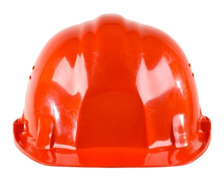 aegis: photo  beauty red  safety cap, close up on white background, from one side