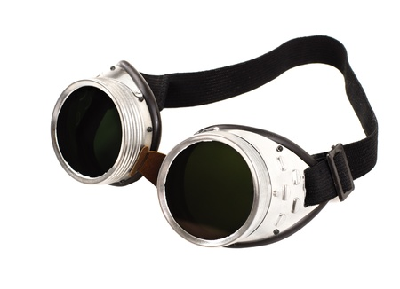 photo blak  welded protective spectacles on white background isolated, close up Stock Photo - 16929492