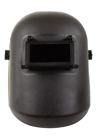 흰색 배경에 전기 아크 용접 용 사진 블랙 보호 화면 근접 촬영, 절연