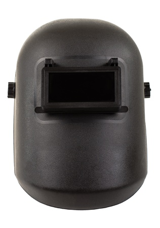 aegis: photo black protective screen closeup , for electric arc welding, on white background, isolated