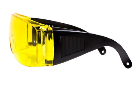 photo  yellow protective spectacles on white background isolated, close up full face Stock Photo - 16939482