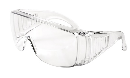 photo white protective spectacles on white background isolated, close up full face Stock Photo - 16939472