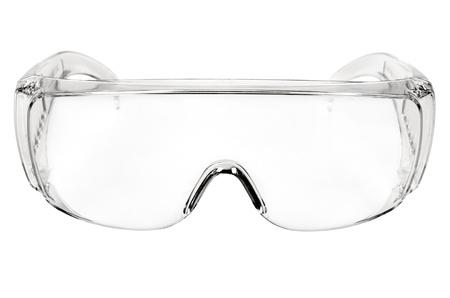 Foto weißen Schutzbrille isoliert auf weißem Hintergrund, close up volles Gesicht