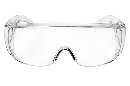 eye protectors: photo white protective spectacles on white background isolated, close up full face Stock Photo