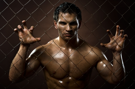 the very muscular handsome felon guy ,  out of netting   steel fence Stock Photo - 17221563