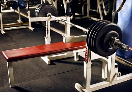 weight in dark weight room, horizontal photo Stock fotó