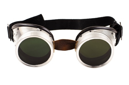 protecting spectacles: photo blak  welded protective spectacles on white background isolated, close up