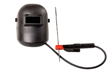 electrode: still life of black protective screen  and  rod-holder with cable and  electrode, for electric arc welding, on white background, isolated Stock Photo