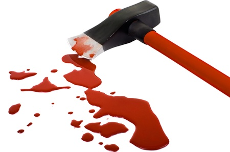 blotch:  instrument of crime axe close in puddle  blood, lie in white background, isolated