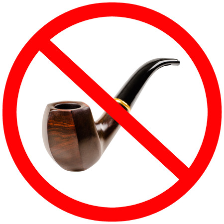 inhibitory: tobacco pipe, no smoking - prohibiting sign, isolated