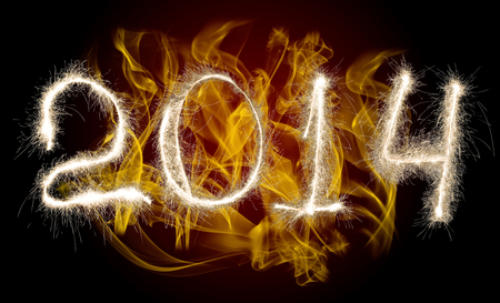 lambent: Date New Year 2014 of photo sparkle Bengal light on background with flame, collage of figure