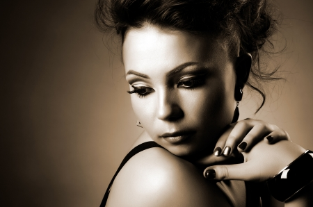 the very  pretty  young woman,  sensual look , horizontal portrait photo