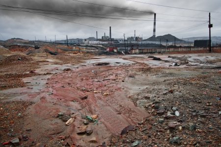 discharge: landscape pollution of the environment emission of  industrial plant, Karabash city;  Russia