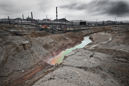 radiation pollution: landscape pollution of the environment emission of  industrial plant, Karabash city;  Russia
