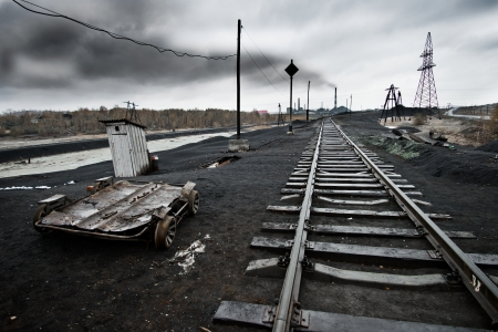 impurity: landscape with railway,  pollution of the environment emission of  industrial plant, Karabash city;  Russia Stock Photo